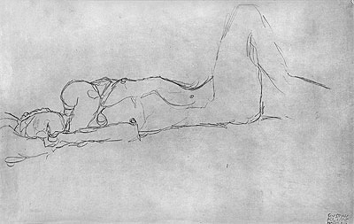 Reclining Female Nude, c.1914 | Klimt | Painting Reproduction