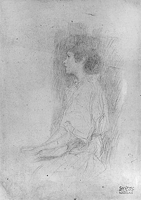 Seated Girl in Shadow, Undated | Klimt | Painting Reproduction