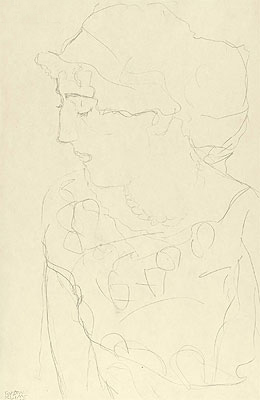 Female Bust in Profile, c.1916 | Klimt | Painting Reproduction