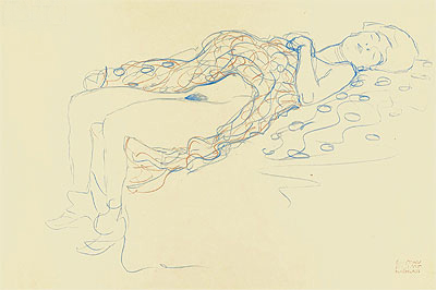 Reclining Semi-Nude, 1913 | Klimt | Painting Reproduction