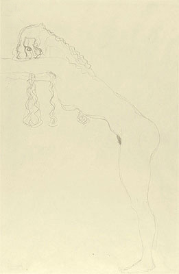 Nude with Long Hair and Forward Leaning Torso, c.1907 | Klimt | Painting Reproduction