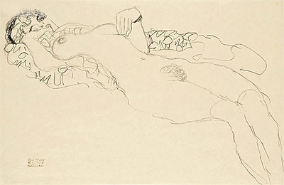 Reclining Female Nude, c.1914/15 | Klimt | Painting Reproduction