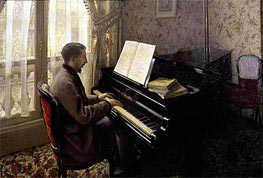 Caillebotte | Young Man Playing the Piano, 1876 | Giclée Canvas Print
