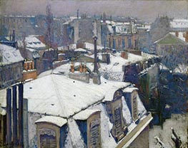 Caillebotte | View of Roofs (Snow Effect), 1878 | Giclée Canvas Print