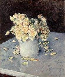Yellow Roses in a Vase, 1882 by Caillebotte | Giclée Canvas Print