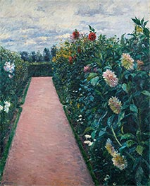 Garden Path with Dahlias in Petit Gennevilliers, c.1890/91 by Caillebotte | Giclée Canvas Print