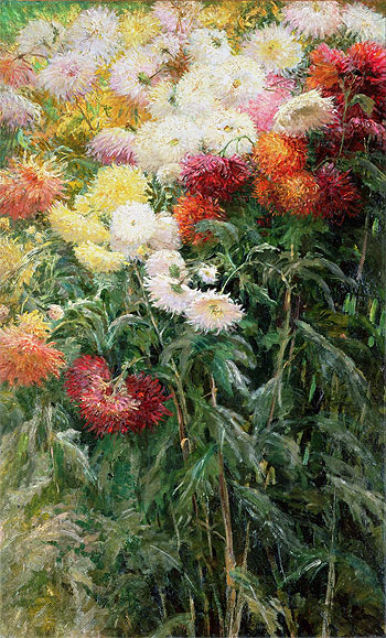 Clump of Chrysanthemums, Garden at Petit Gennevilliers, 1893   Caillebotte   Painting Reproduction