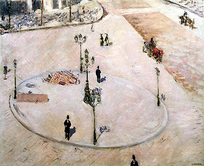 Traffic Island on Boulevard Haussmann, 1880 | Caillebotte | Painting Reproduction
