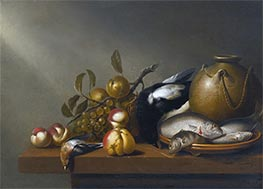 Still Life of Fruit, Fish on an earthenware Platter, c.1640 by Harmen Steenwijck | Giclée Canvas Print