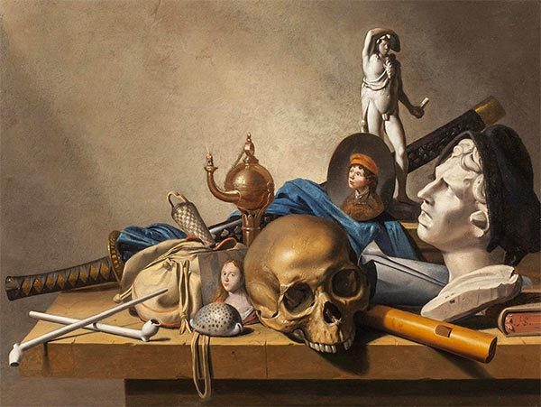 A Vanitas Still Life with a Bust, a standing Sculpture and  Skull, c.1650 | Harmen Steenwijck | Painting Reproduction