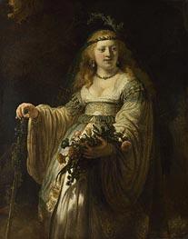 Rembrandt   Flora (Saskia van Uylenburgh in Arcadian Costume)   Giclée Canvas Print