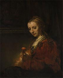 Rembrandt | Woman with a Pink, c.1660/64 | Giclée Canvas Print