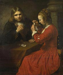 Rembrandt | A Young Man and a Girl playing Cards | Giclée Canvas Print
