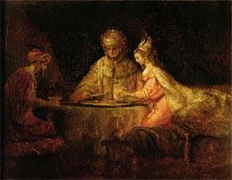 Rembrandt | Ahasuerus, Haman and Esther, 1660 | Giclée Canvas Print