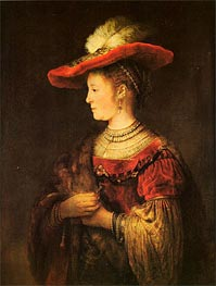 Rembrandt | Saskia with a Bonnet, c.1642 | Giclée Canvas Print