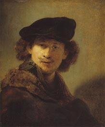 Rembrandt | Self Portrait with Velvet Cap and a Cloak with Fur Collar, 1634 | Giclée Canvas Print