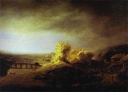 Rembrandt | Landscape with a Long Arched Bridge, c.1630/40 | Giclée Canvas Print