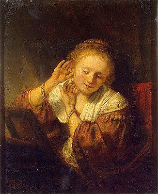 Young Woman with Earrings, 1657 | Rembrandt | Painting Reproduction