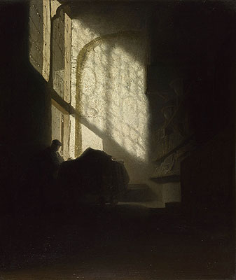 A Man Seated Reading at a Table in a Lofty Room, c.1628/30 | Rembrandt | Painting Reproduction