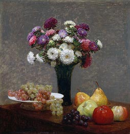 Fantin-Latour | Asters and Fruit on a Table, 1868 | Giclée Canvas Print