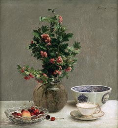 Fantin-Latour | Still Life with Vase of Hawthorn, Bowl of Cherries, Japanese Bowl, Cup and Saucer, 1872 | Giclée Canvas Print