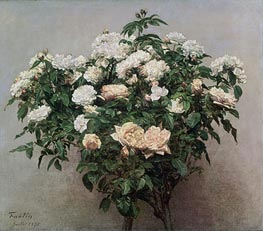 Fantin-Latour | Still Life with White Roses, 1875 | Giclée Canvas Print