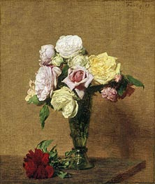 Fantin-Latour | Still Life with Roses in a Fluted Vase, 1889 | Giclée Canvas Print