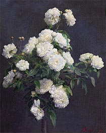 Fantin-Latour | Still Life of White Peonies, 1870 | Giclée Canvas Print