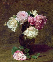 Fantin-Latour | Pink and White Roses, 1890 | Giclée Canvas Print