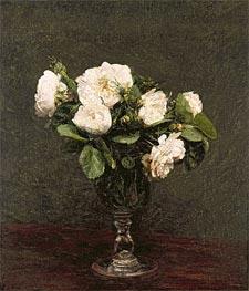 Fantin-Latour | White Roses, 1875 | Giclée Canvas Print