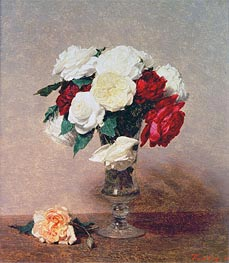 Fantin-Latour | Roses in a Vase with Stem, 1890 | Giclée Canvas Print