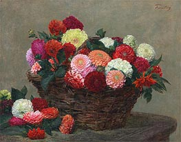 Fantin-Latour | Basket of Dahlias, 1893 | Giclée Canvas Print