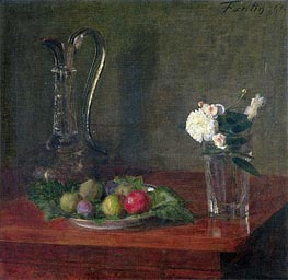 Fantin-Latour | Still Life with Glass Jug, Fruit and Flowers, 1861 | Giclée Canvas Print