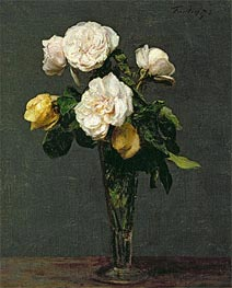 Fantin-Latour | Roses in a Champagne Flute, 1873 | Giclée Canvas Print