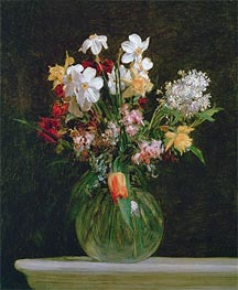 Fantin-Latour | White Narcissus, Hyacinths and Tulips, 1864 | Giclée Canvas Print