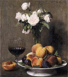 Fantin-Latour | Still Life with Roses, Fruit and a Glass of Wine, 1872 | Giclée Canvas Print