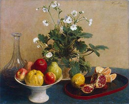 Fantin-Latour | Flowers, Dish with Fruit and Carafe, 1865 | Giclée Canvas Print