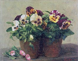 Fantin-Latour | Still Life of Pansies and Daisies, 1889 | Giclée Canvas Print