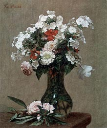 Still Life with Zinnias and Phlox, 1888 by Fantin-Latour | Giclée Canvas Print