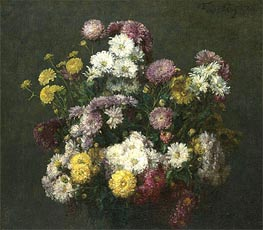Flowers, Chrysanthemums, 1876 by Fantin-Latour | Giclée Canvas Print