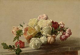Bowl of Roses on a Marble Table, 1885 by Fantin-Latour | Giclée Canvas Print