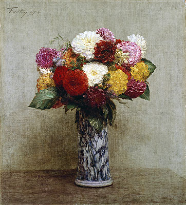 Dahlias in a Chinese Vase, 1874 | Fantin-Latour | Painting Reproduction