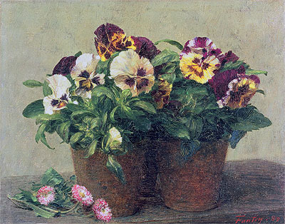 Still Life of Pansies and Daisies, 1889 | Fantin-Latour | Painting Reproduction