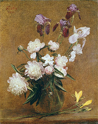 Bouquet of Peonies and Irises, 1883 | Fantin-Latour | Painting Reproduction