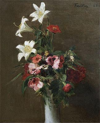Flowers in a Porcelain Vase, 1863 | Fantin-Latour | Painting Reproduction