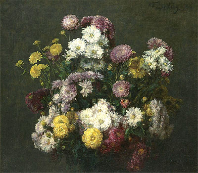 Flowers, Chrysanthemums, 1876 | Fantin-Latour | Painting Reproduction