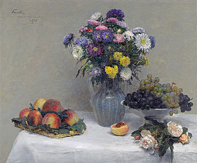 Flowers and Fruits, 1876 | Fantin-Latour | Painting Reproduction