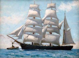 Tuke | Barque in Full Sail Dropping Her Tug, 1888 | Giclée Canvas Print