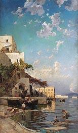 Hermann David Salomon Corrodi   Evening Meeting of Fishermen in a Tavern in Naples Mergellina, undated   Giclée Canvas Print