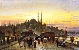 The Golden Horn, Galata Bridge, Constantinople, Undated by Hermann David Salomon Corrodi | Giclée Canvas Print